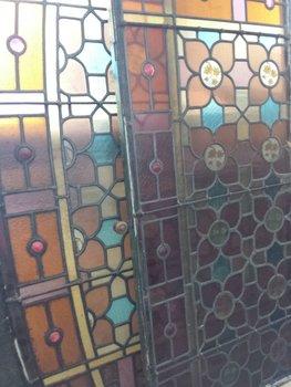 Antieke Glas in lood ramen zie foto's