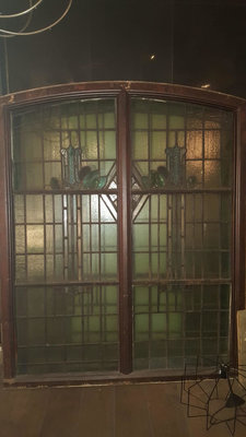Antique Art Nouveau stained glass windows