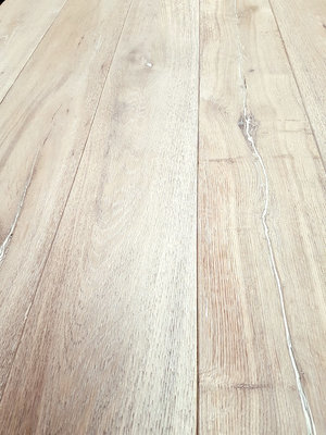 148 m2 oak flooring aged, brushed, and ready white oiled