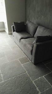 185m2 Bourgondische dallen Cathedraal, natuursteen tegels Grey Groot romaans verband