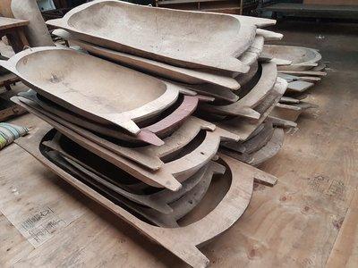 Oude houten troggen, bakken