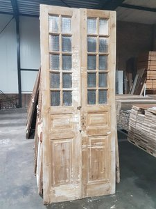Antique double door with glass, size 100 x 255 cm
