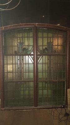 Antieke Jugendstil glas in lood ramen