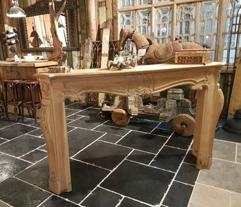 Solid oak fireplace with wood carving